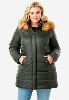 Classic Quilted Parka with Faux Fur Trim, DEEP OLIVE