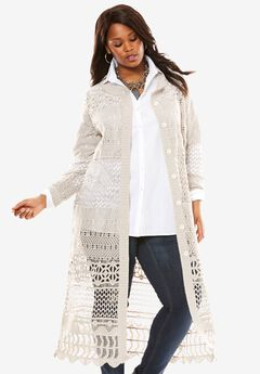 Long Lace Crochet Cardigan,
