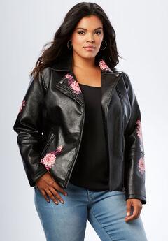 Floral Moto Jacket, BLACK, hi-res