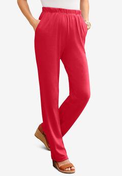 Straight-Leg Soft Knit Pant, VIVID RED
