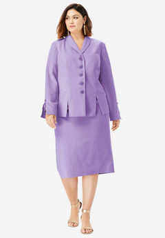 Two-Piece Skirt Suit with Shawl-Collar Jacket, BRIGHT LILAC
