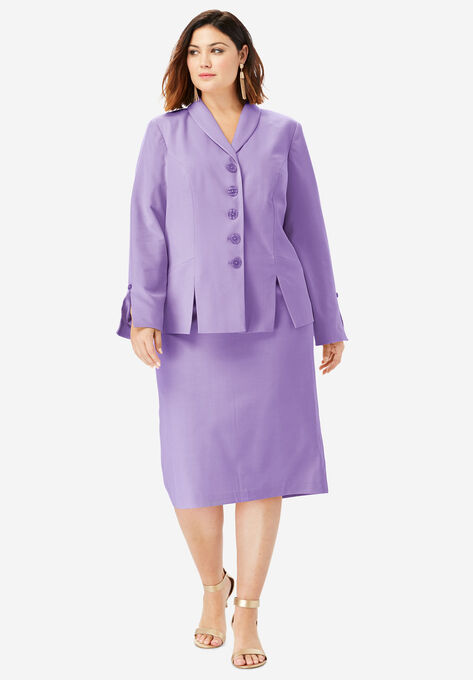 9a8eb024 Two-Piece Skirt Suit with Shawl-Collar Jacket| Plus Size Skirt Suits ...