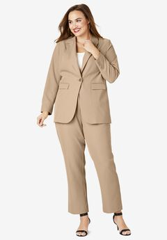 Straight-Leg Pantsuit with Blazer, NEW KHAKI