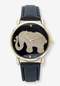 """Gold Tone Grey and Black Elephant Watch With Black Faux Leather Strap 8"""","""