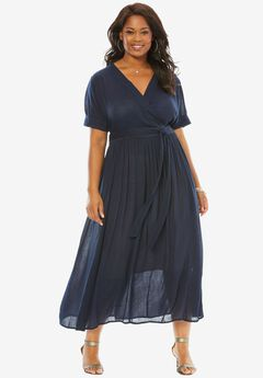 Maxi Wrap Dress, EVENING BLUE, hi-res