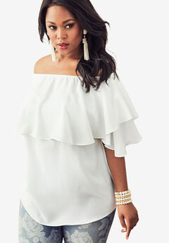 Off-The-Shoulder Ruffle Top, WHITE, hi-res