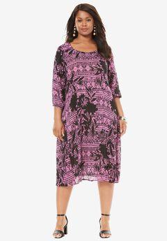 Cutout Crinkle Dress, PRETTY ORCHID FLORAL, hi-res