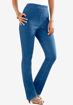 Pull-On Stretch Denim Straight-Leg Jean by Denim 24/7®, LIGHT STONEWASH SANDED