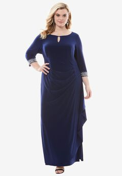 Keyhole A-line Dress by Alex Evenings, COBALT, hi-res