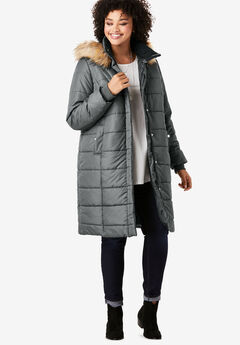 Midi-Length Quilted Parka with Hood,