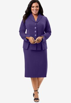 Two-Piece Skirt Suit with Shawl-Collar Jacket, MIDNIGHT VIOLET