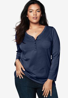 Long-Sleeve Henley Ultimate Tee with Sweetheart Neck, NAVY