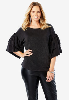 Sweater with Tiered Bell Sleeves,