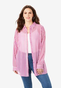 Georgette Tunic, PURPLE MAGENTA STRIPE