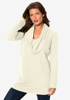 Thermal Knit Cowl Neck Tunic, IVORY