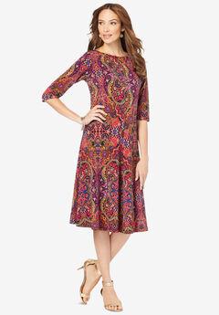 Ultrasmooth® Fabric Boatneck Swing Dress,