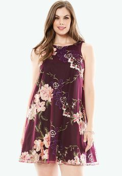 Floral Embroidered Dress by ECI Women, WINE FLORAL PRINT, hi-res