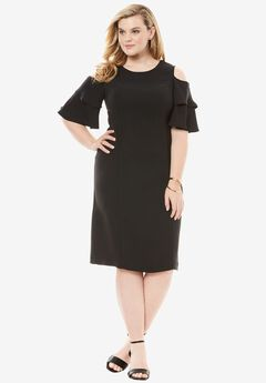 Flounce Sleeve Sheath, BLACK, hi-res