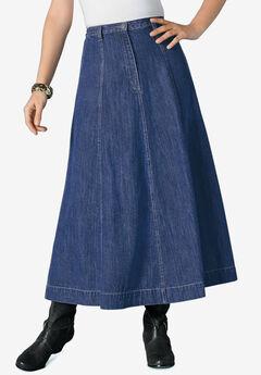 A-line Denim Maxi Skirt,