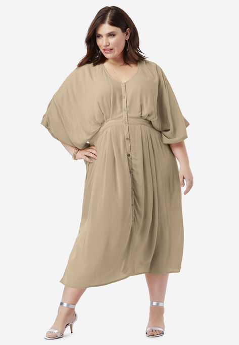Crinkle Button-Front Dress with Kimono Sleeves