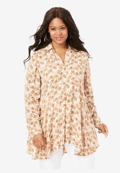 Fit-and-Flare Crinkle Tunic, IVORY ABSTRACT FLORAL