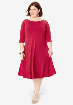 Swing Drape Dress with Three-Quarter Sleeves,