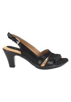 Neima Leather Sling Back Pump by Softspots®, BLACK SUEDE, hi-res