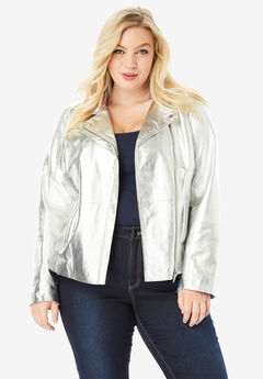 Leather Moto Jacket, METALLIC