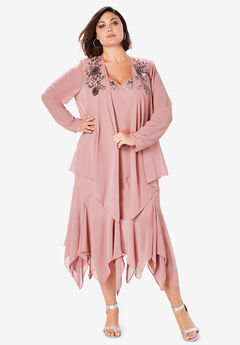 Beaded Jacket Dress Set, SOFT MAUVE
