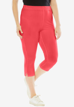 Stretch Capri Leggings, CORAL RED