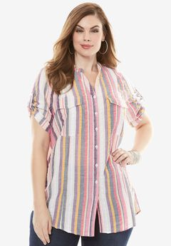 Seersucker Shirt with Tab Sleeves, PINK MULTI STRIPE, hi-res