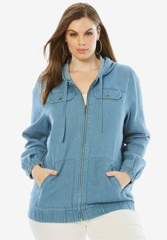 Denim Zip-Up Hoodie,