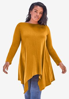 Handkerchief Hem Ultimate Tunic, RICH GOLD