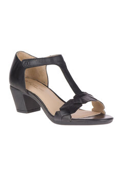 Masseter T-Strap Sandals by Hush Puppies®, BLACK LEATHER, hi-res