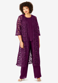 Three-Piece Duster & Pant Set with Bell Sleeves, DARK BERRY