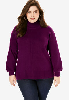 Soft Luxe Turtleneck Sweater, DARK BERRY