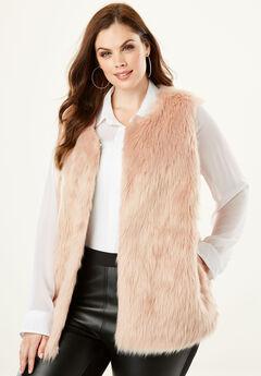 Faux Fur Vest, BLUSH