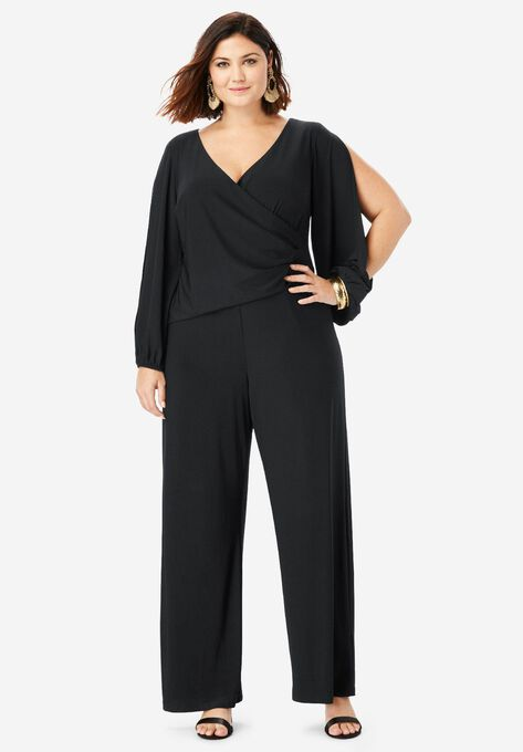 0a20ad188f69 Wide-Leg Jumpsuit with Slit Sleeves