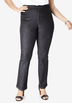 Straight-Leg Pull-On Stretch Jean by Denim 24/7®, BLACK DENIM