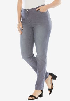 Straight Leg Jean with Invisible Stretch® by Denim 24/7®, GREY SANDED, hi-res