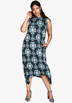 Mock Neck T-Shirt Dress, NAVY PRINT, hi-res