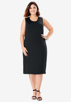 Ultimate Ponte Sheath Dress with V-Neck, BLACK