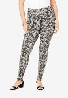 Essential Stretch Legging, GREY WATERCOLOR PAISLEY