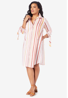 Tie-Sleeve Kate Shirtdress, CORAL MULTI STRIPE