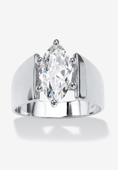 Sterling Silver Cubic Zirconia Wide Band Solitaire Engagement Ring,