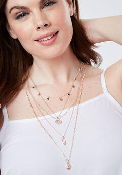 5-Piece Necklace Set, ROSE GOLD, hi-res