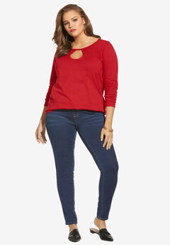 Long-Sleeve Keyhole Ultimate Tee, VIVID RED