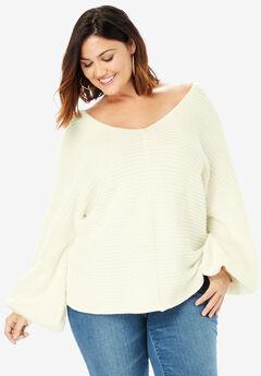 Balloon-Sleeve Sweater,