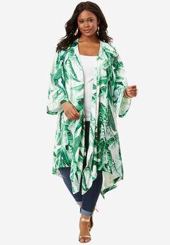 Kimono Duster Jacket, GREEN PALM PRINT, hi-res