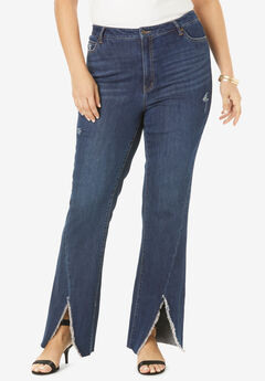 Frayed Slit Jean by Denim 24/7®, DARK WASH